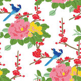 Seamless pattern japanese birds Stock Images