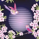 Seamless pattern with Japanese blossom sakura and crane, bird.. Seamless pattern with Japanese blossom sakura and crane, bird. Vector stock illustration Royalty Free Stock Photos