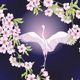 Seamless pattern with Japanese blossom sakura and crane, bird.. Vector stock illustration Royalty Free Stock Images