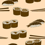 Seamless pattern japanese cuisine silhouette sushi Royalty Free Stock Photo
