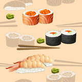 Seamless pattern japanese cuisine silhouette sushi Stock Image