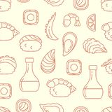 Seamless pattern with Japanese food elements royalty free illustration