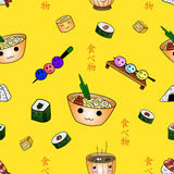 Seamless pattern with japanese food with `food` inscriptions on Japanese language on yellow vector illustration