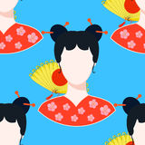 Seamless pattern with a Japanese girl. vector illustration Royalty Free Stock Photo