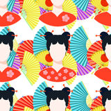 Seamless pattern with a Japanese girl. vector illustration Stock Images