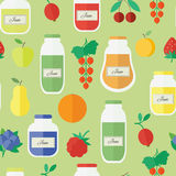 Seamless pattern with jars of jam in flat style. Vector illustration. Seamless pattern with jars of jam and fruits. Flat design vector illustration royalty free illustration