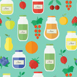 Seamless pattern with jars of juice in flat style. Vector illustration. Seamless pattern with jars of juice and fruits and berries. Flat design vector vector illustration