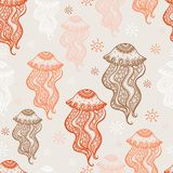 Seamless pattern with jellyfish. Stock Photo