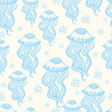 Seamless pattern with jellyfish. Jellyfish.Seamless pattern with jellyfish .color marine seamless pattern, endless texture of sea world. can be used for Stock Image