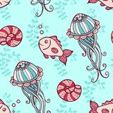 Seamless pattern with jellyfish and fish. Marine seamless pattern with jellyfish and fish on a green background.  Hand drawn vector illustration Royalty Free Stock Photos