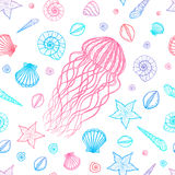 Seamless pattern with jellyfish and shells in line art style. Hand drawn vector Royalty Free Stock Photography