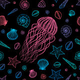 Seamless pattern with jellyfish and shells in line art style. Hand drawn vector Stock Photography