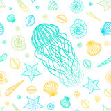Seamless pattern with jellyfish and shells in line art style. Hand drawn vector Royalty Free Stock Photos