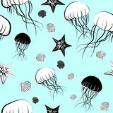 Seamless pattern with jellyfish royalty free stock image