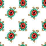 Seamless pattern with jewelry turtles on white. Background Stock Photos