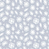 Seamless pattern of jewels in gray color. Stock Photography