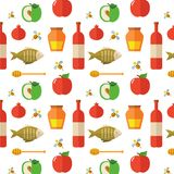 Seamless pattern for Jewish New Year Holiday Rosh Hashahah Stock Image