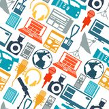Seamless pattern with journalism icons. Stock Photography