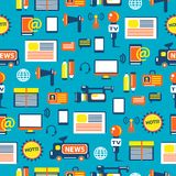 Seamless pattern with journalist equipment Stock Image