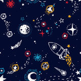 Seamless pattern for journey to space with sketch stars, rocket, comets and planets. Vector illustration stock illustration
