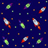 Seamless pattern for journey to space with sketch stars, rocket, comets, planets and ufo, vector royalty free illustration