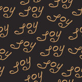 Seamless Pattern Joy Christmas Calligraphy Royalty Free Stock Photography