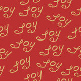 Seamless pattern joy christmas calligraphy Stock Photos