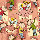 Seamless pattern with joyful dancing boys and little fairies.  Royalty Free Stock Photography