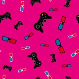 Seamless pattern with joysticks and 3D glasses. Simple vector illustration.  Pink, black, red, blue, white. Seamless pattern with joysticks and 3D glasses vector illustration