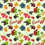 Seamless pattern with juicy berries. Vector illustration. A colorful pattern with berries and an inscription. Suitable for packaging paper food products Royalty Free Stock Images