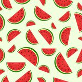 Seamless pattern with juicy fresh Watermelon. Vector Illustration Royalty Free Stock Photos