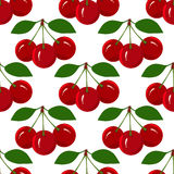 Seamless Pattern with Juicy Ripe Cherry Fruit Stock Images