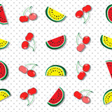 Seamless pattern of juicy slices of red and yellow watermelon and cherries. Concept of Hello Summer. Fruit abstract background Stock Images