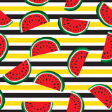 Seamless pattern of juicy slices of watermelon and horizontal stripes. Fruit abstract background, vector illustration. Seamless pattern of juicy slices of stock illustration
