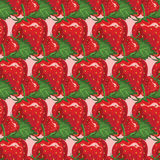 Seamless pattern of juicy strawberry.  illustration Stock Images