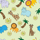 Seamless pattern with jungle animals. Background with kids cute animals stock illustration