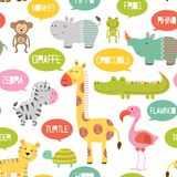 Seamless pattern with jungle animals Stock Images