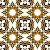 Seamless pattern with kaleidoscope. In green and yellow tones on white background. Vector illustration Royalty Free Stock Photography