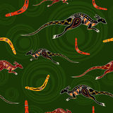 Seamless pattern of kangaroos and boomerangs. Seamless pattern of kangaroos and boomerangs with abstract circles on background. Australian aboriginal ornament Vector Illustration