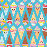 Seamless pattern Kawaii funny Ice cream waffle cone, muzzle with pink cheeks and winking eyes, pastel colors on blue background. V Royalty Free Stock Photography