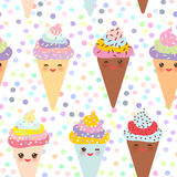 Seamless pattern Kawaii funny Ice cream waffle cone, muzzle with pink cheeks and winking eyes, pastel colors on white background. Stock Images