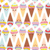 Seamless pattern Kawaii funny Ice cream waffle cone, muzzle with pink cheeks and winking eyes, pastel colors on white background. Royalty Free Stock Photography