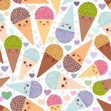 Seamless pattern Kawaii funny Ice cream waffle cone, muzzle   Royalty Free Stock Images