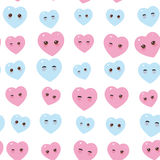 Seamless pattern - Kawaii funny pink blue hearts with pink cheeks and winking eyes on white background. Vector Royalty Free Stock Image