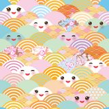 Seamless pattern Kawaii with pink cheeks and winking eyes simple Nature background with japanese sakura flower, rosy pink Cherry,. Wave circle pattern blue pink royalty free illustration