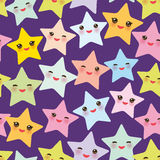 Seamless pattern Kawaii stars set, face with eyes, boys and girls pink green blue purple yellow pastel colors on purple background Royalty Free Stock Photos