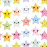 Seamless pattern Kawaii stars set, face with eyes, boys and girls pink green blue purple yellow pastel colors on white background. Stock Photo