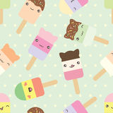 Seamless pattern of kawaii style ice cream bars. Royalty Free Stock Photography