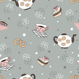 Seamless pattern with a kettle, cups , cakes, pretzels, flowers Stock Photography