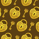 Seamless pattern with key vector. Gold lock hearts and keys background. Seamless pattern with key vector. Gold lock hearts and keys background stock illustration